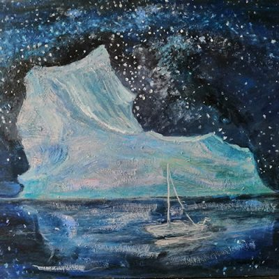 Obstacle Iceberg  - oil on hardboard 46 x 61 Fourth State stars are different formation