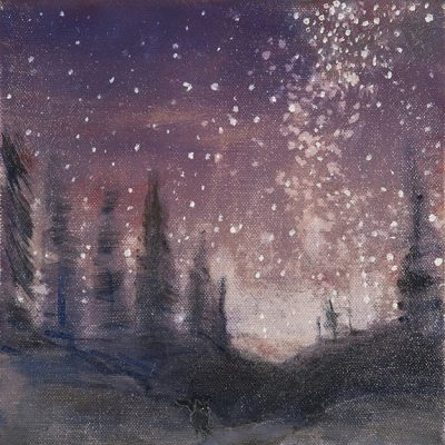 milky way fox oil painting stars