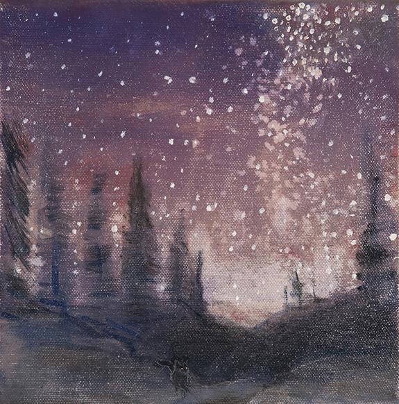 milky way fox oil painting stars