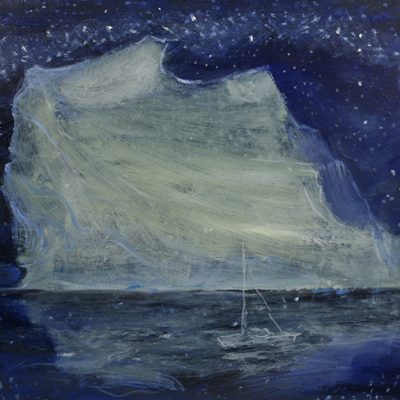 Obstacle Iceberg  - oil on hardboard 46 x 61  Second State adding boat obstacle is getting smaller