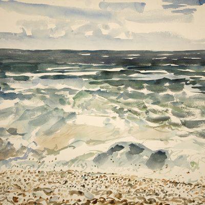 chesil beach painting watercolour dorset