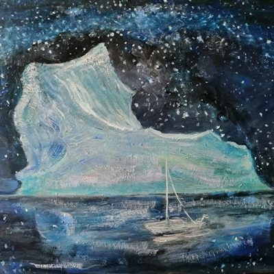 Obstacle Iceberg  - oil on hardboard 46 x 61 Third State obstacle is smaller