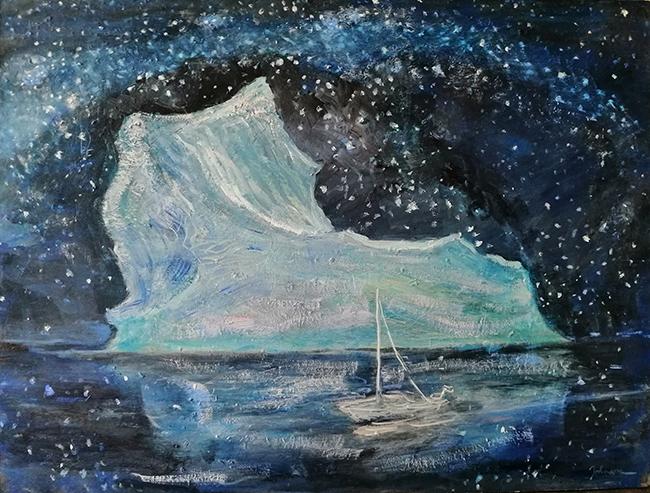 iceberg oi l painting svalbard