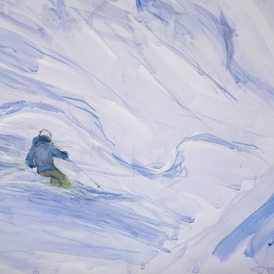 Detail - Large watercolour sketch of gully on Mittelberg after the avalanche - 160 x 108 cm ( 63 x 42.5 inches )