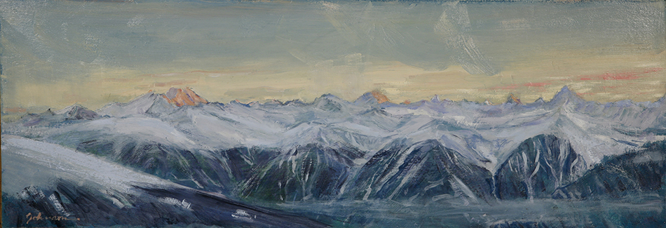 View from Berghotel Wildstrubel at the Gemmi Pass of 4000 metre Swiss peaks - oil on hardboard £400 unframed