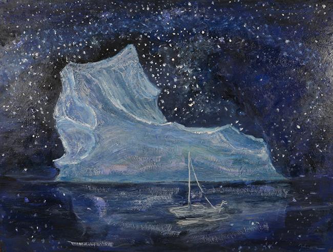 iceberg svalbard norway sailboat milky way stars