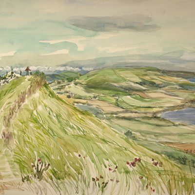 Narrow path view to Kimmeridge Bay Dorset - watercolour on paper 56 x 76 cm (22 x 30 inches ) £600