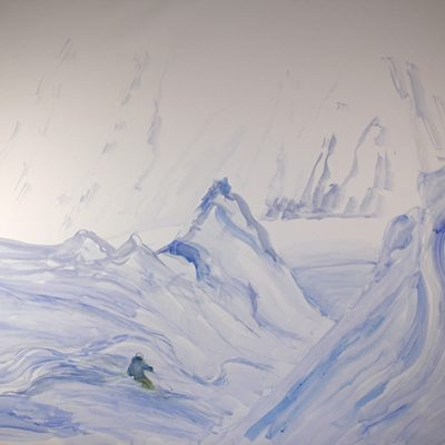 Large watercolour sketch of gully on Mittelberg after the avalanche - 160 x 108 cm ( 63 x 42.5 inches )