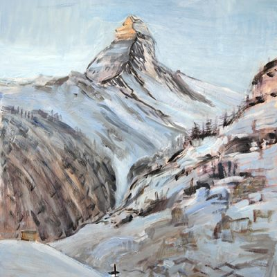 Morning Sunlight on Matterhorn in December - oil on hardboard 118 x 90 cm ( 46.5 x 35.5 inches) £1600