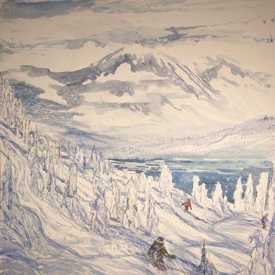 Canadian Wilderness Powder - watercolour on D'Arches paper 112 cm x 104 cm ( 44 x 41 inches ) £1200 unframed