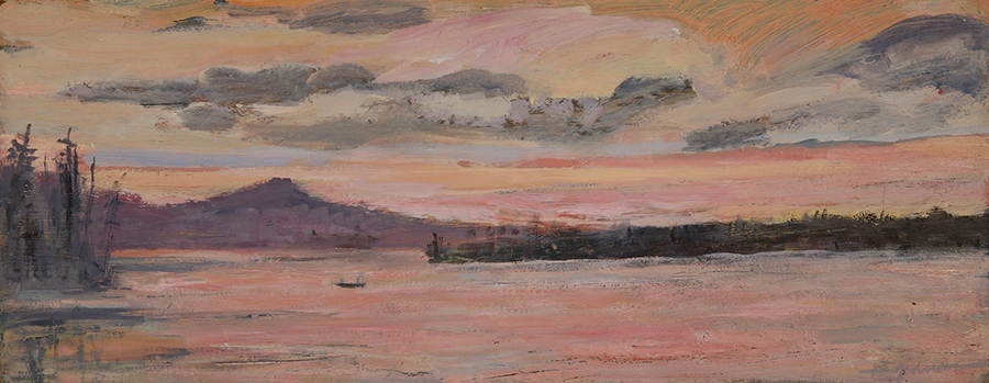 The Crossing - Maine - oil on hardboard 18 x 46 cm ( 7  1/4 x 18 inches ) £250 unframed