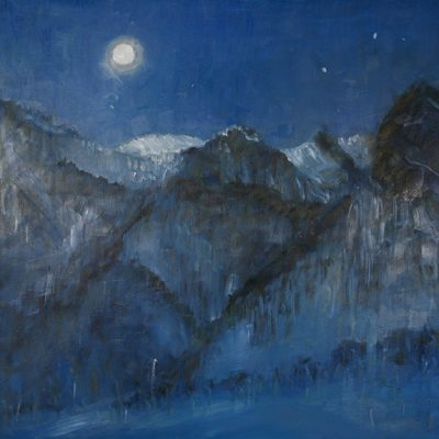 Moonlight - Nocturne in Viviere - oil on hardboard 57 x 60 cm (22.5 x 23.5 inches ) SOLD