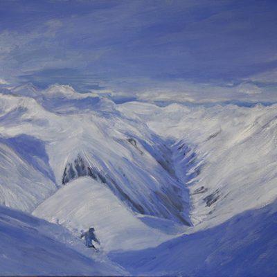 painting pitztal skiing powder austria