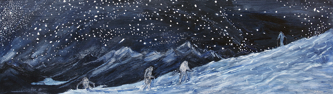 Skiers out under the Stars Haute Route - oil on hardboard SOLD