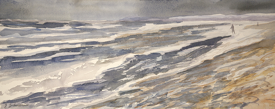 Brighton Beach in a Storm - watercolour on paper 24 x 57 cm (9.5 x 22.5 inches ) £275