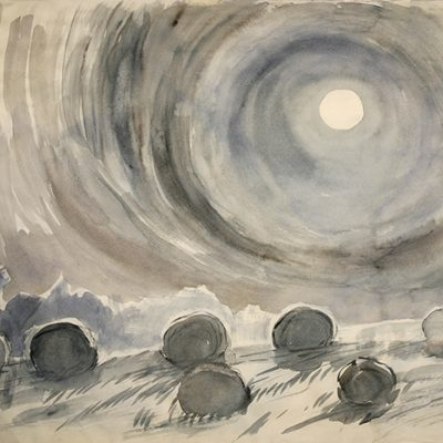 Moon and Hay Bales in the Cotswolds - watercolour on Kozo paper 65 x 98 cm (25.5 x 38.5 inches ) £500