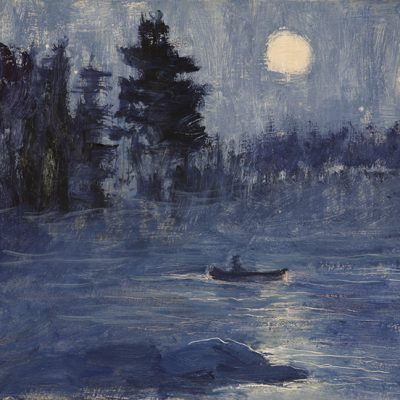 Moon and Canoe - oil on hardboard 30 x 33 cm (12 x 13 inches) £275