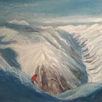 Descent to Pitztal in progress - oil oncanvas 71 x 127 cm (28 x 50 inches )