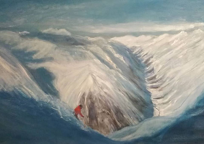 painting pitztal powder skiing austria