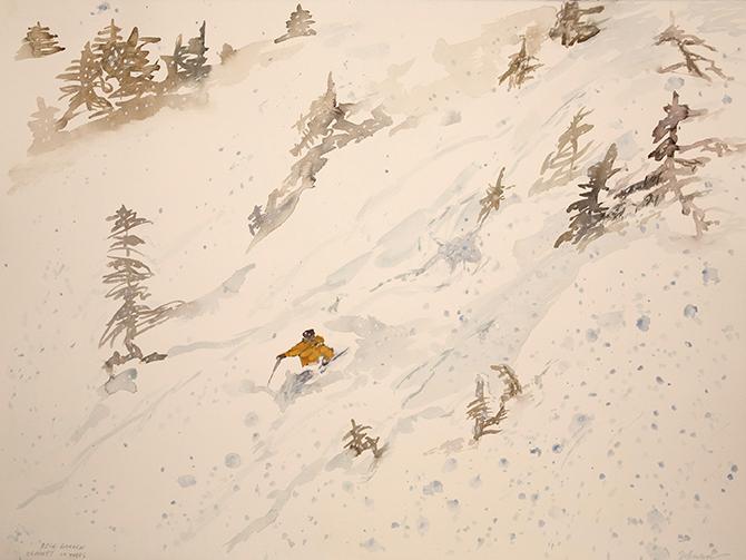 zermatt powder skiing watercolour painting alpine