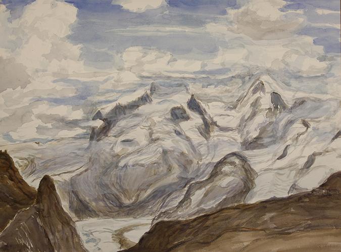 gornergletscher switzerland monte rosa watercolour alpine painting