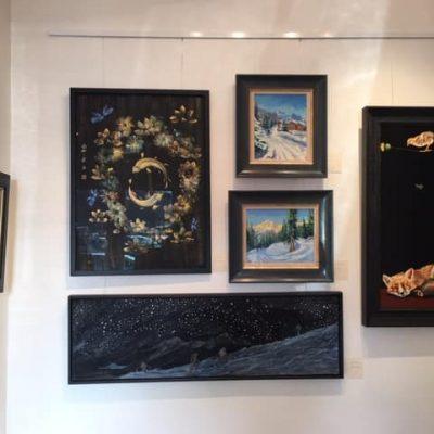 Arc of the Stars oil on hardbaord on bottom - Christmas Exhibition of Fosse Gallery Artists 2019