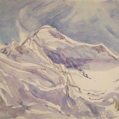 mont blanc alpine painting ski skiing chamonix