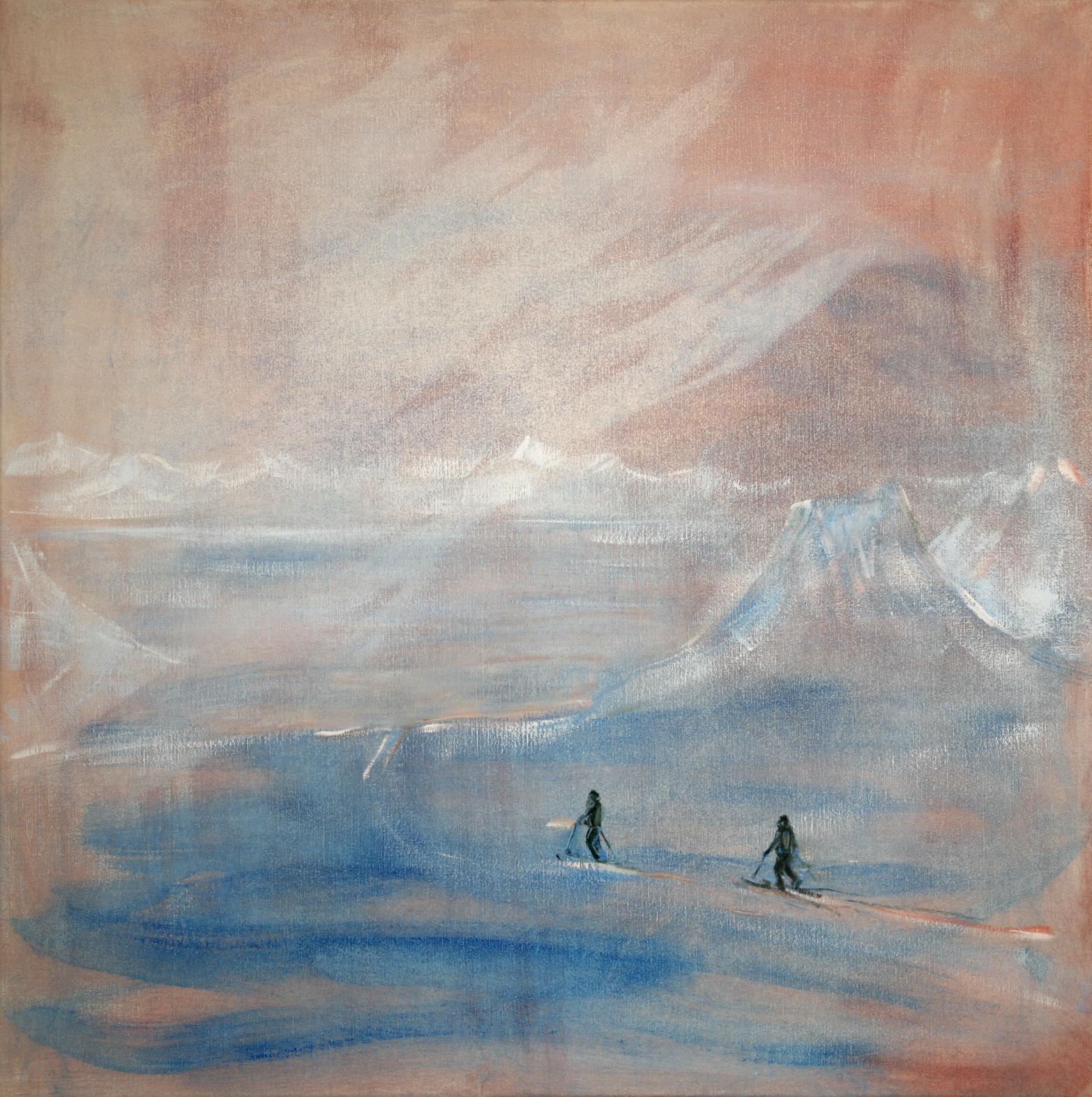 svalbard alpen glow pink alpine arctic painting oil ski touring mountains mountaineering