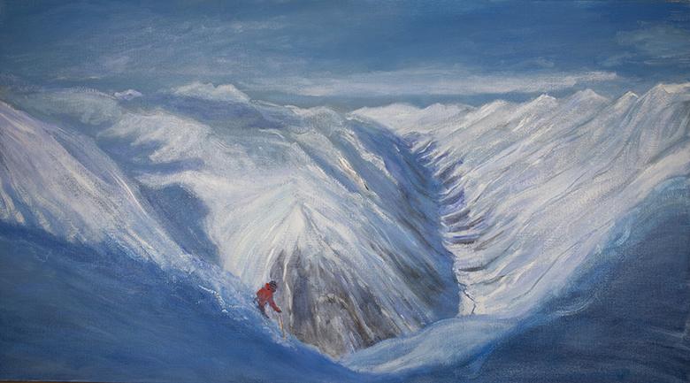 austria off piste skiing pitztal powder alpine ski painting