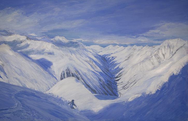 pitztal valley austria off piste alpine painting