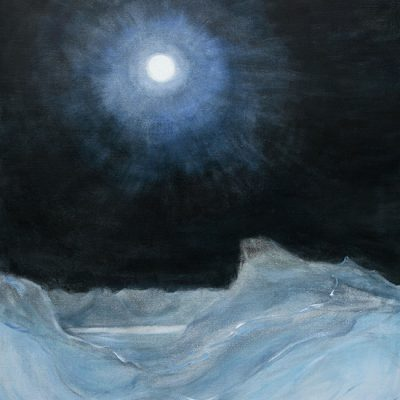 svalbard full moon ski touring alpine painting oil