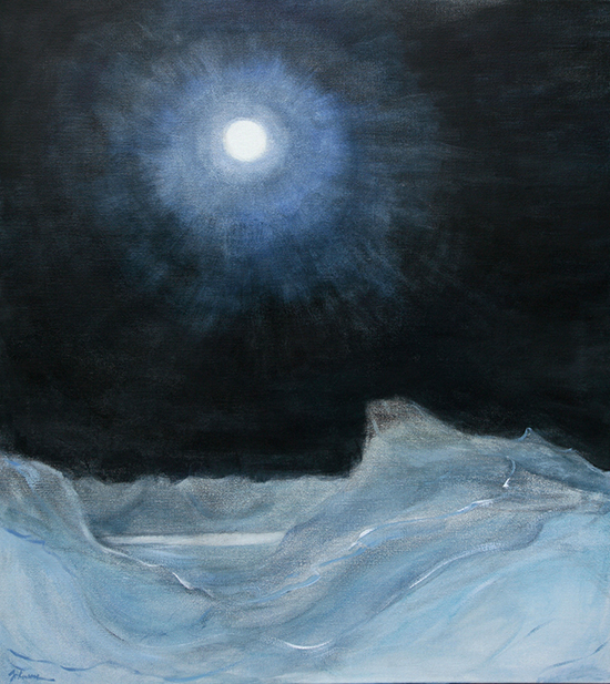 svalbard full moon ski touring alpine painting oil