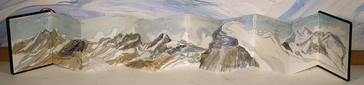 4000 meter Breithorn switzerland alpine painting watercolour