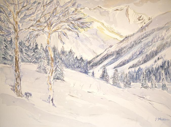 snow pitztal alpine painting skiing ski alps watercolour