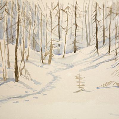 Soleglio Bue alpine painting watercolour ski skiing italy val maira
