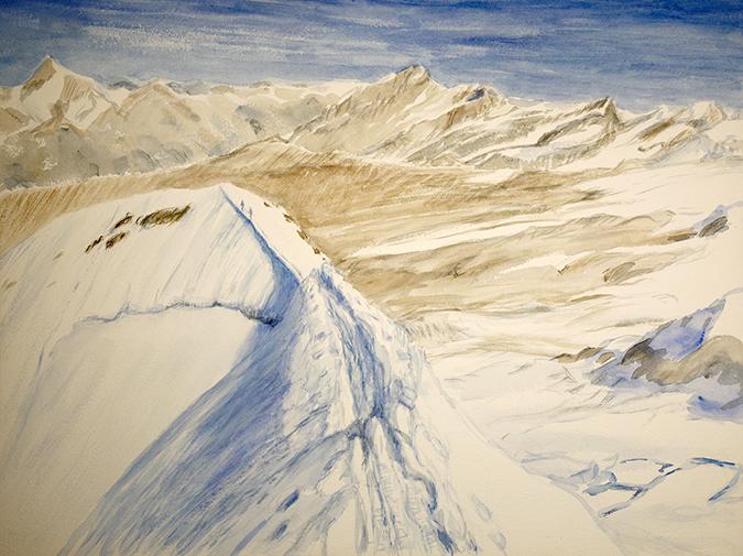 castor 4000 meter peaks zermatt alps alpine painting