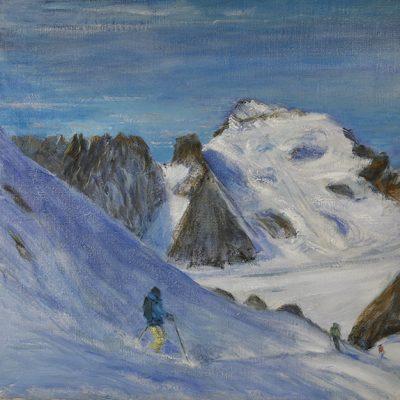 barre des ecrins dome des neige oil painting alps alpine skiing ski