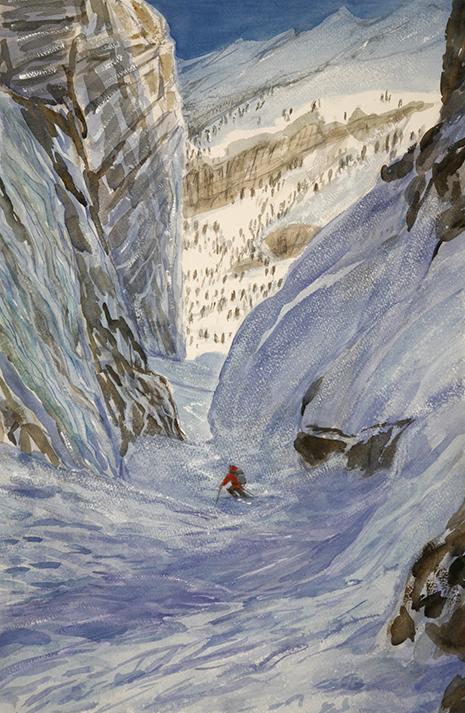 gerwetsch couloir zermatt alps alpine skiing ski painting