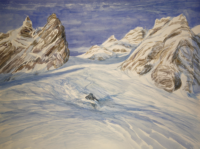 grand couloir courchevel france alpine skiing painting ski powder