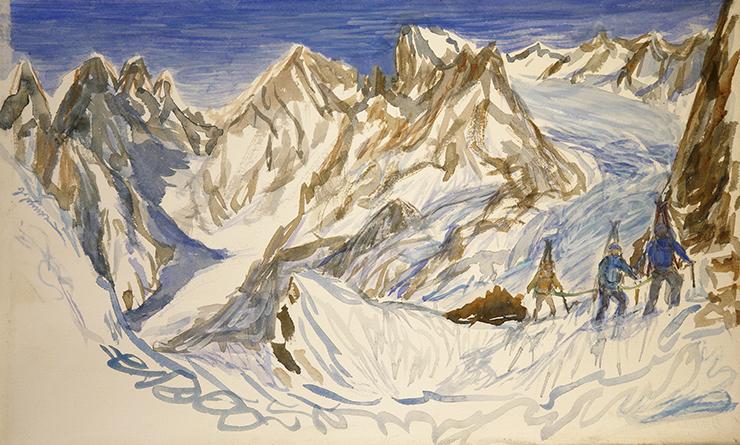 col du monetier alps painting watercolour ski skiing france ecrins
