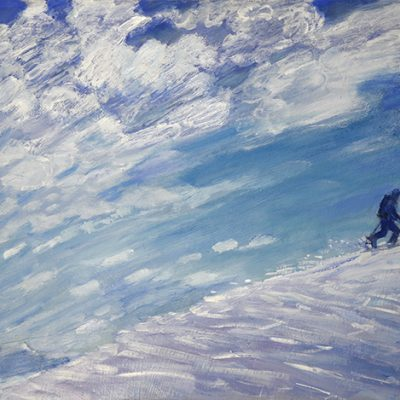 mountain guide oil painting landscape alps alpine