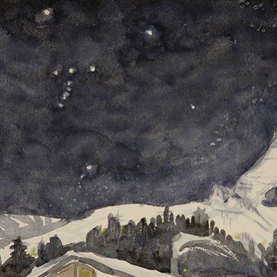 Matterhorn and Orion's belt - watercolour on paper
