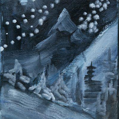 Matterhorn and Stars - oil on canvas