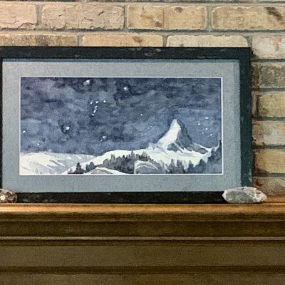 Framed Watercolour of Matterhorn with Orion's Belt