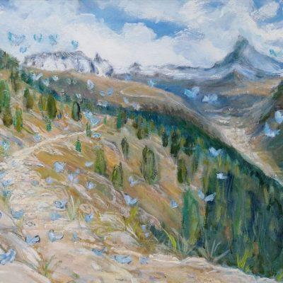 Blue butterflies path to Zermatt - oil on canvas