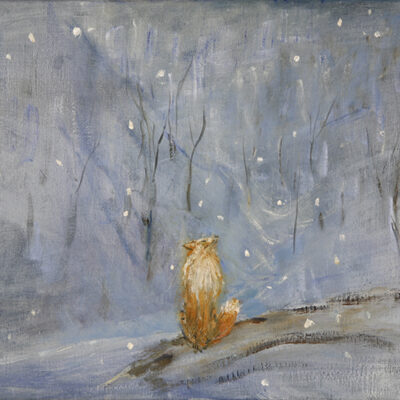 fox in snow val maira nature oil painting