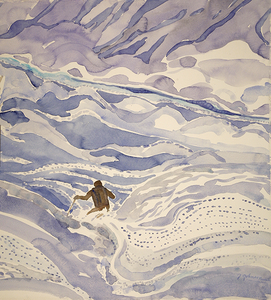 powder skiing painting zermatt ski alps