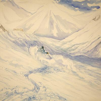 la Grave France powder skiing ski painting