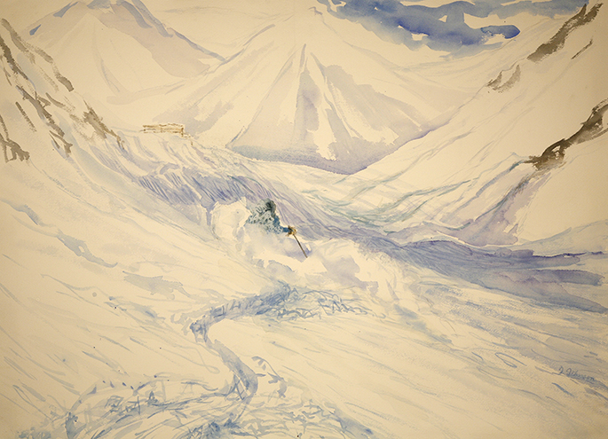 la Grave France powder skiing ski painting