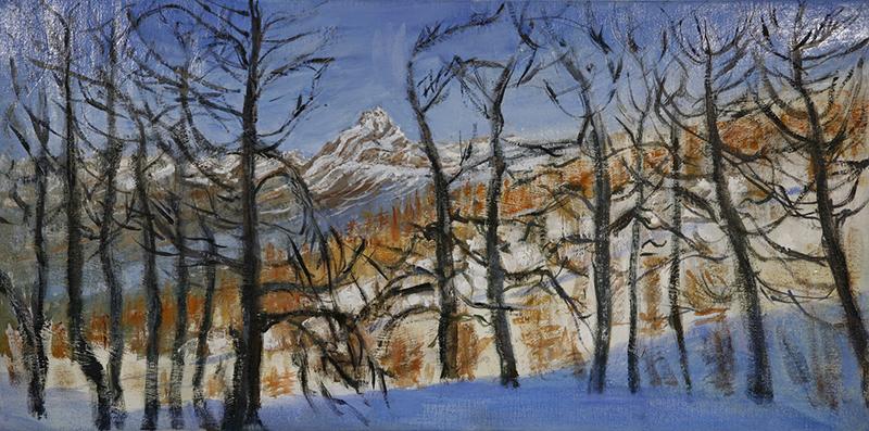 Mon Viso on the Horizon - oil on canvas